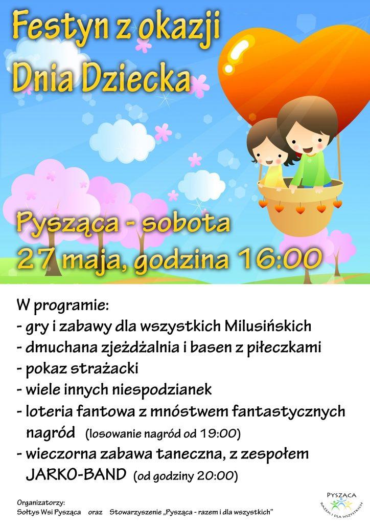 Festyn z okazji Dnia Dziecka - Pysząca, dnia 27 maja, godzina 16:00 - plakat